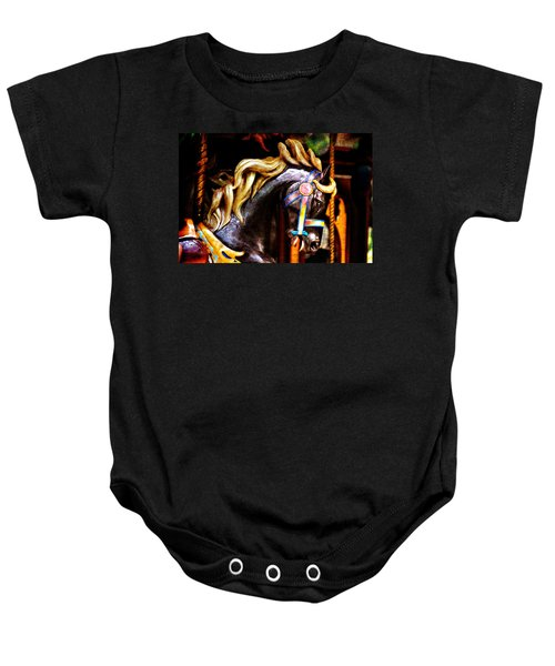 Black Carousel Horse Baby Onesie