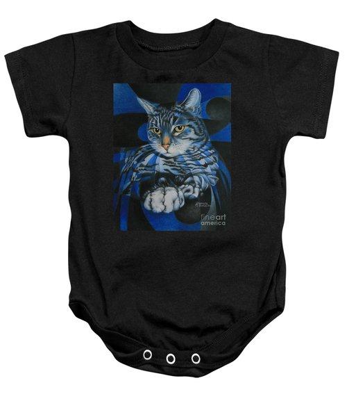 Blue Feline Geometry Baby Onesie