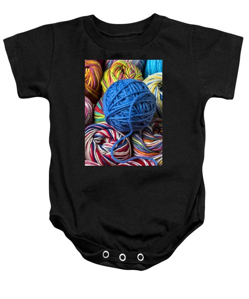 Blue Yarn Baby Onesie