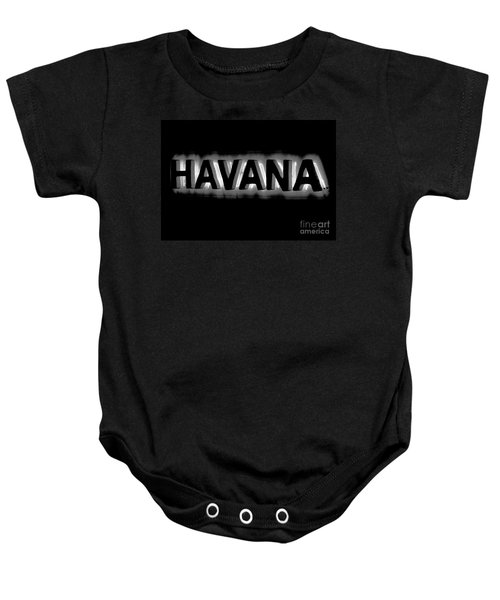 Bright Vibrant Neon Black And White Backlit Hotel Havana Sign Conte Crayon Digital Art  Baby Onesie