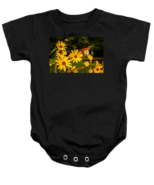 Bumble Bee On A Western Sunflower Baby Onesie