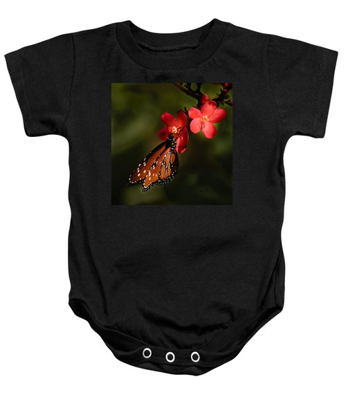 Butterfly On Red Blossom Baby Onesie