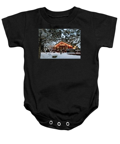 Cabin With Christmas Lights Baby Onesie