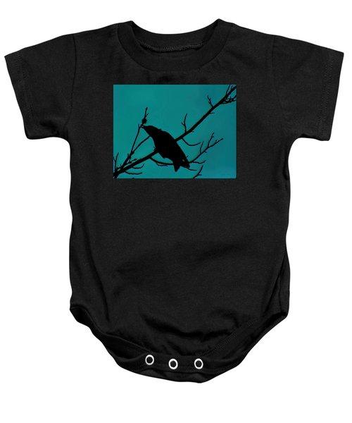 Call Of The Crow On Aqua 2 Baby Onesie
