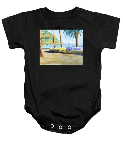 Canoes And Surfboards In The Morning Light - Catalina Baby Onesie