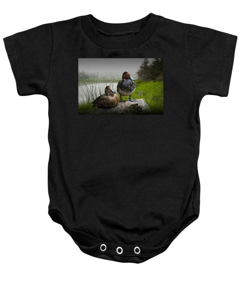 Canvasback Duck Pair By A Pond Baby Onesie