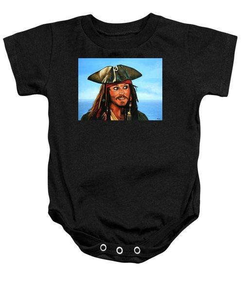 Captain Jack Sparrow Painting Baby Onesie by Paul Meijering