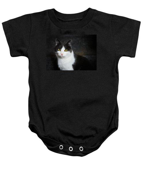 Cat Portrait With Texture Baby Onesie by Matthias Hauser