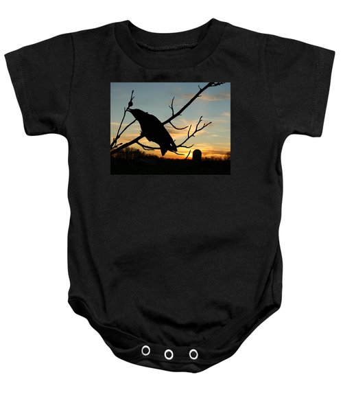 Cawcaw Over Sunset Silhouette Art Baby Onesie