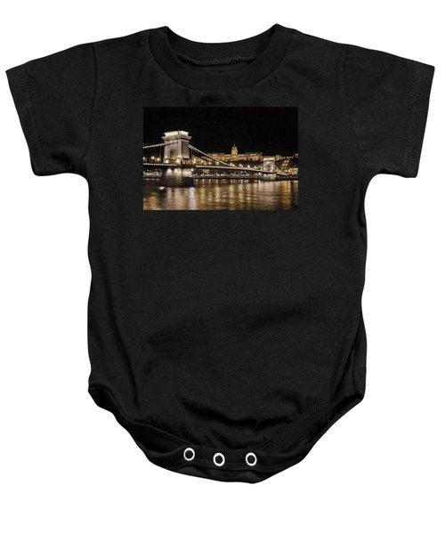 Chain Bridge And Buda Castle Winter Night Painterly Baby Onesie