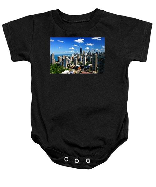 Chicago Buildings Skyline Clouds Baby Onesie