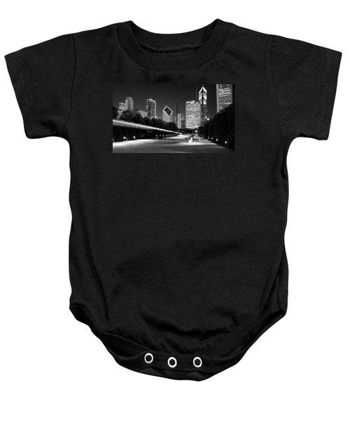 Chicago Night Skyline Black White Baby Onesie