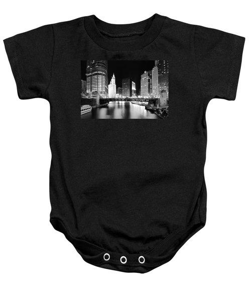 Chicago River Bridge Skyline Black White Baby Onesie