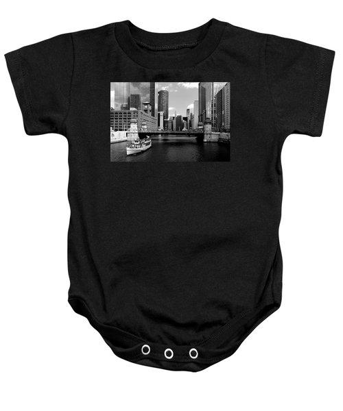 Chicago River Skyline Bridge Boat Baby Onesie