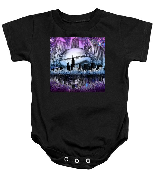 Chicago Skyline Drawing Collage 2 Baby Onesie