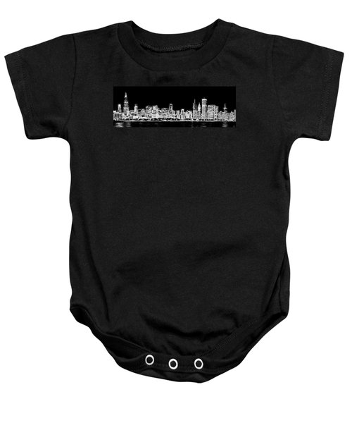 Chicago Skyline Fractal Black And White Baby Onesie