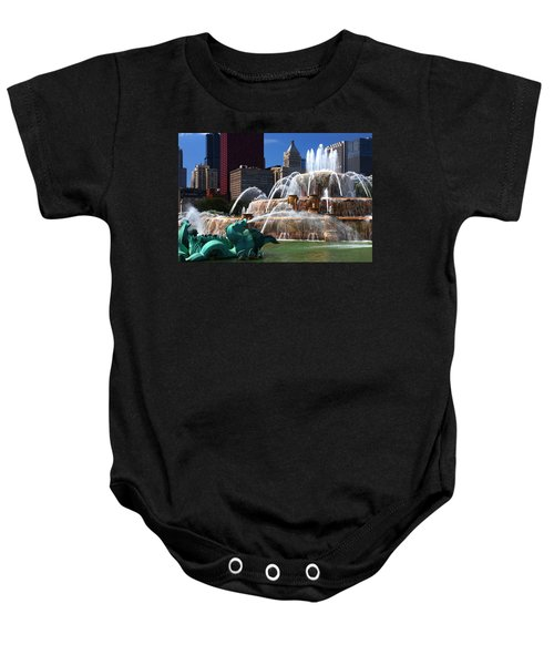 Chicago Skyline Grant Park Fountain Baby Onesie