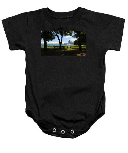 Chicago Skyline Lakefront Park Baby Onesie