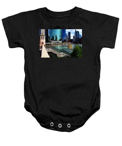 Chicago Skyline River Boat Baby Onesie