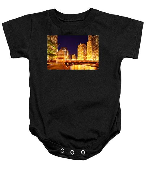 Chicago Skyline River Bridge Night Baby Onesie