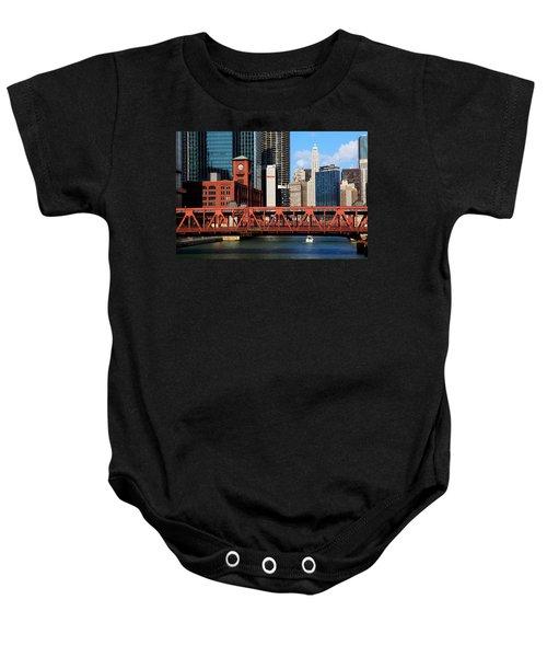 Chicago Skyline River Bridge Baby Onesie