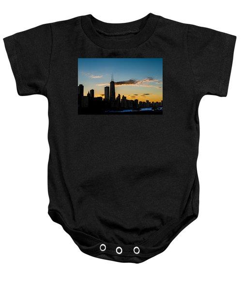 Chicago Skyline Silhouette Baby Onesie