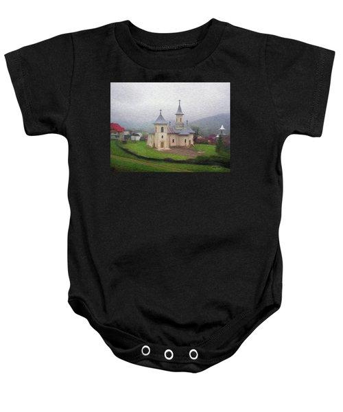 Church In The Mist Baby Onesie