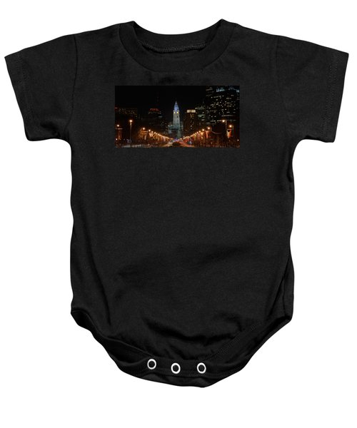 Baby Onesie featuring the photograph City Hall At Night by Jennifer Ancker