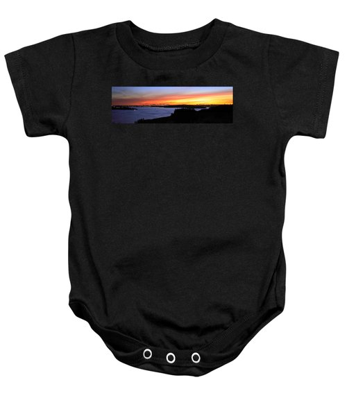 Baby Onesie featuring the photograph City Lights In The Sunset by Miroslava Jurcik