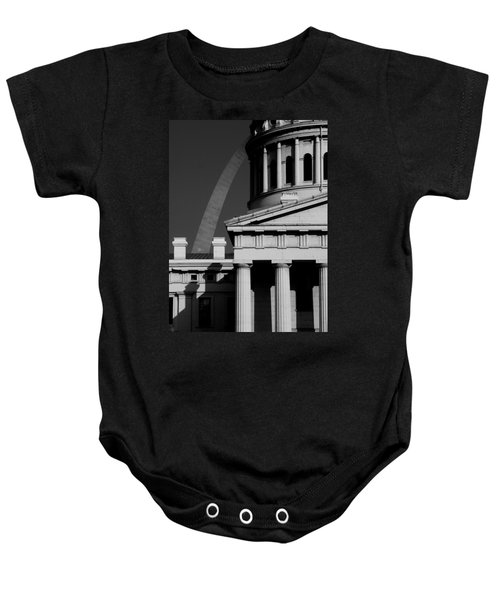 Classical Courthouse Arch Black White Baby Onesie