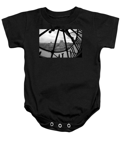 Clock At Musee D'orsay Baby Onesie by Chevy Fleet