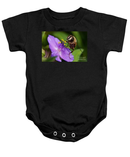 Closeup Of A Bee On A Purple Flower Baby Onesie