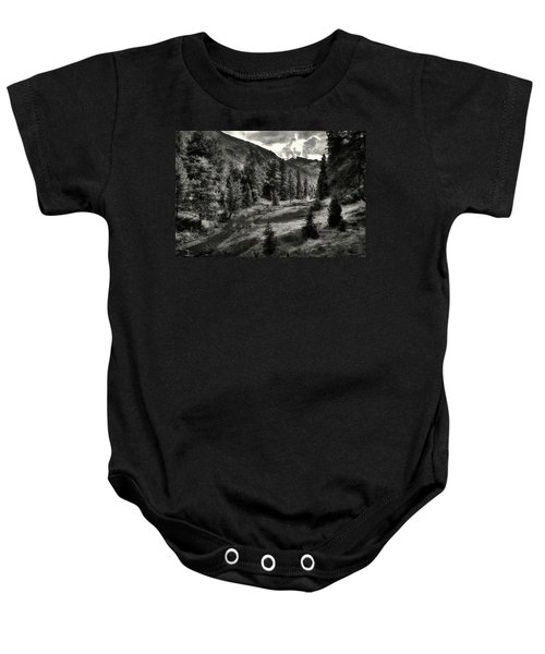 Clouds Over The Mountainscape Baby Onesie