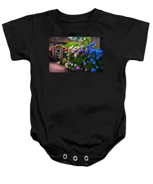Colorful Hydrangea At The Gate. Giethoorn. Netherlands Baby Onesie