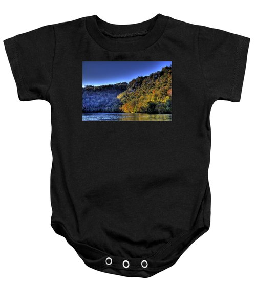Baby Onesie featuring the photograph Colorful Trees Over A Lake by Jonny D