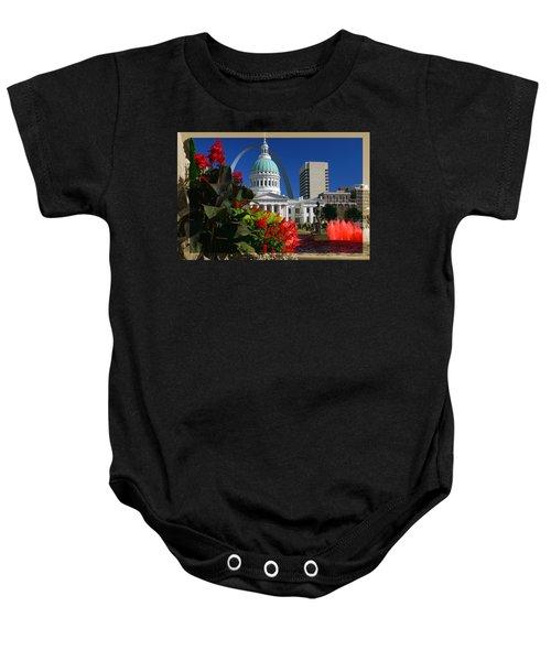 Courthouse Arch Skyline Fountain Baby Onesie