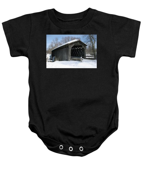 Covered Bridge In Winter Baby Onesie