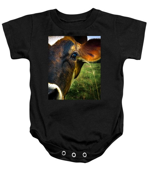 Cow Eating Grass Baby Onesie by Bob Orsillo