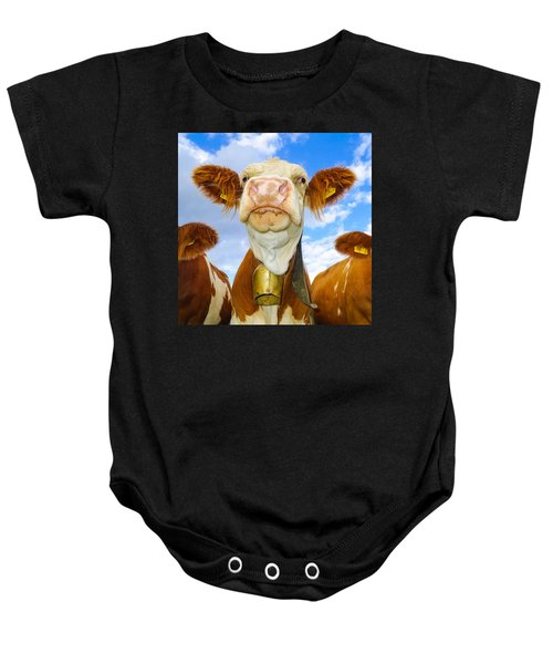 Cow Looking At You - Funny Animal Picture Baby Onesie