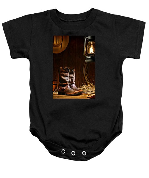 Cowboy Boots At The Ranch Baby Onesie