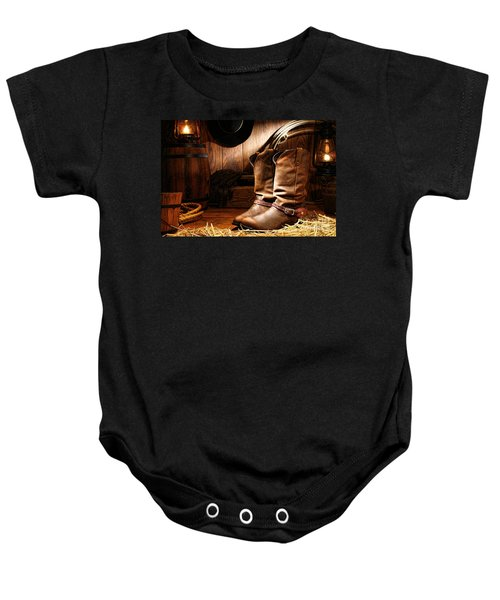 Cowboy Boots In A Ranch Barn Baby Onesie