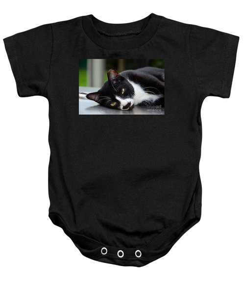 Cute Black And White Tuxedo Cat With Nipped Ear Rests  Baby Onesie