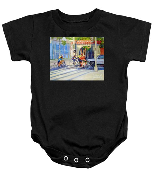 Cycling Past The Archway Baby Onesie