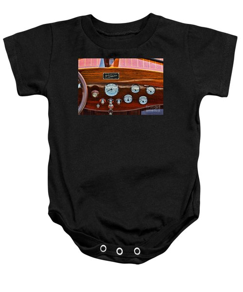 Dashboard In A Classic Wooden Boat Baby Onesie