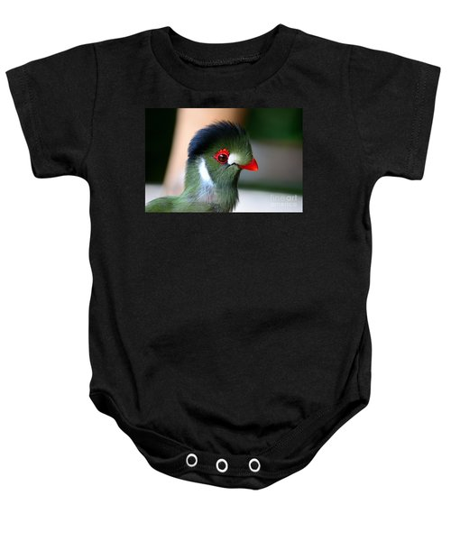 Delicate Green Turaco Bird With Red Beak White Patches And Black Crown Baby Onesie
