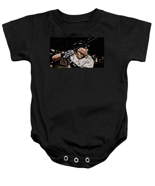 Derek Jeter On Canvas Baby Onesie by Florian Rodarte