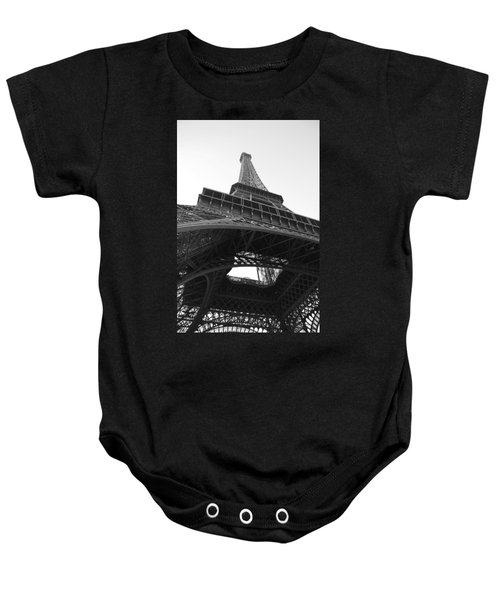 Baby Onesie featuring the photograph Eiffel Tower B/w by Jennifer Ancker