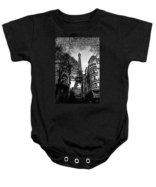 Eiffel Tower Black And White Baby Onesie