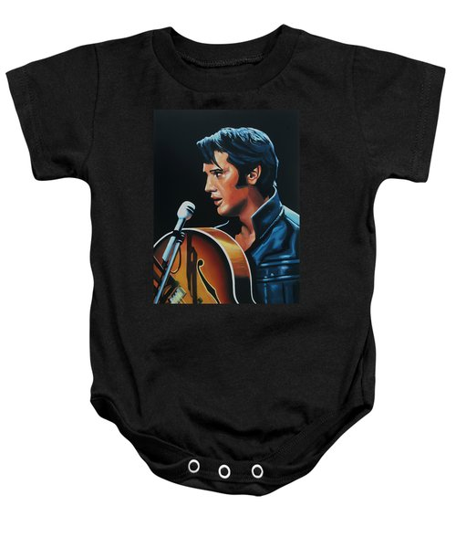 Elvis Presley 3 Painting Baby Onesie by Paul Meijering