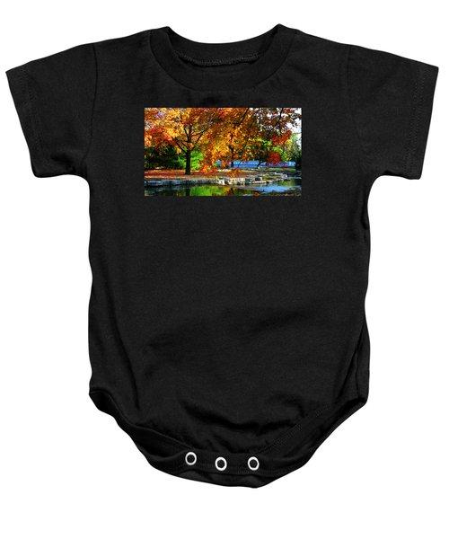 Fall Trees Landscape Stream Baby Onesie